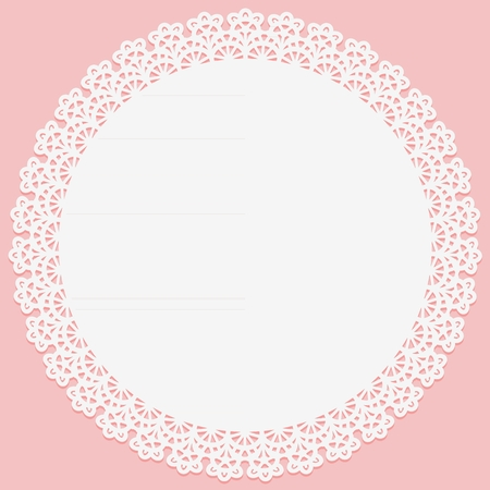 Napperon rond avec dentelle sur le bord sur fond rose. Slhouette convient à la découpe laser. Illustration vectorielle
