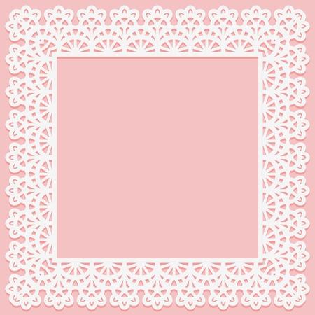Cadre carré avec motif de dentelle sur le bord sur fond rose. Silhouette convient à la découpe laser Illustration vectorielle Vecteurs