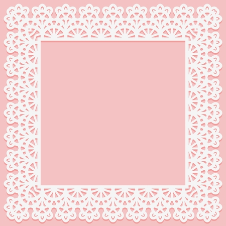 Square frame with lace pattern on edge on pink background. Silhouette is suitable for laser cutting Vector illustration 矢量图片