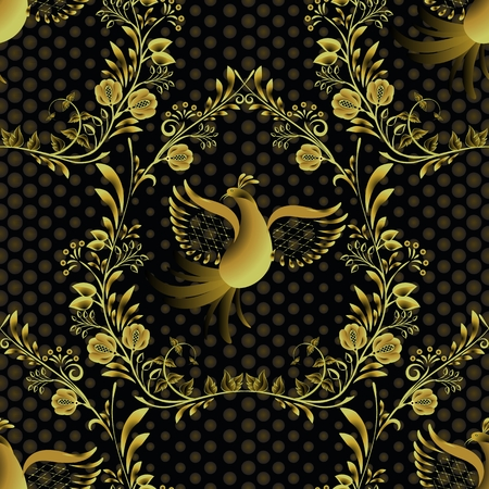 Seamless gold with black pattern. Ornate decorated background with flowers and birds.. Design in the style of folk painting on porcelain. Vector illustration.