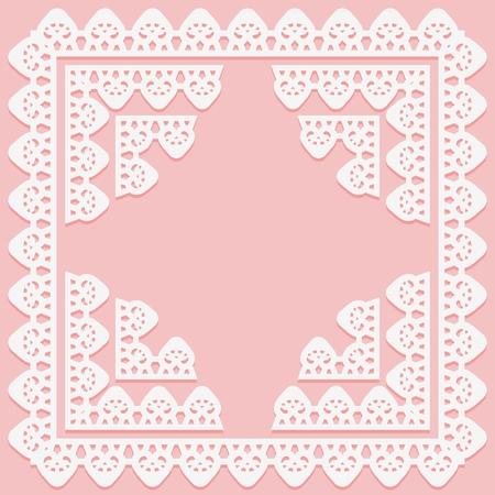 Cadre carré avec motif de dentelle sur les éléments de bord et d'angle sur fond rose. Silhouette convient à la découpe laser. Illustration vectorielle