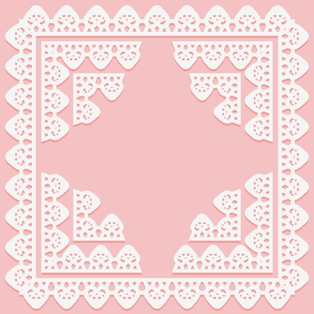 Square frame with lace pattern on edge and corner elements on pink background. Silhouette is suitable for laser cutting. Vector illustration