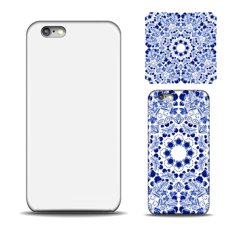 Phone cover design. Reverse side of smartphone. Blue ethnic pattern in style of porcelain painting for design. Mock up with an example isolated on white background. Vector illustration