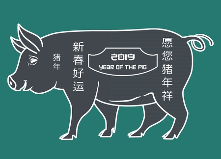Silhouette of a pig with the inscription 2019 year of the pig. Chinese inscriptions mean year of the pig, good luck in the new year, may your year of pig be favorable. Vector illustration Stok Fotoğraf - 116231720