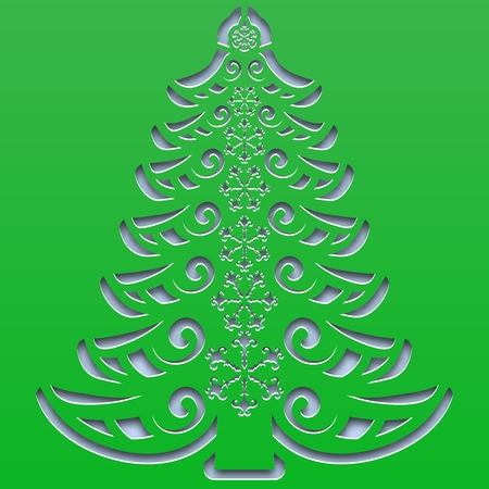Patterned Christmas tree with snowflakes carved on the square paper. Vector illustration. Vektorgrafik