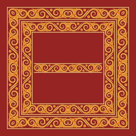Frames in antique Byzantine style. Artistic decorative design element. Golden ornament on a red background. Vector illustration. Иллюстрация