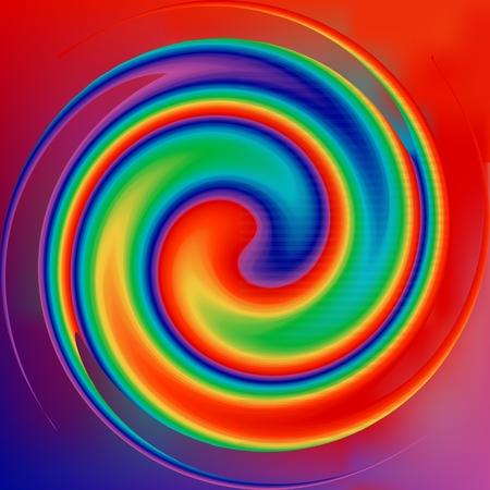 Fond arc-en-ciel coloré de vortex. Illusion tourbillonnante radiale pour la mise en page de conception. Tourbillon coloré se tordant vers le centre. Toile de fond de cercle en spirale ronde. Arc-en-ciel de sucette. Illustration vectorielle