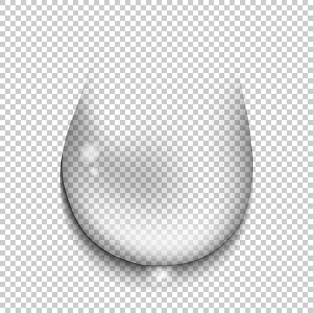 Transparent water drop on transparent background close-up. 3D realistic transparent stain and splash of rain. Vector illustration
