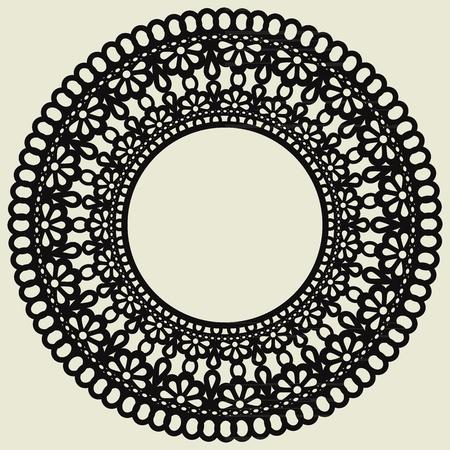 Cercle de dentelle isolé sur fond blanc. La décoration est adaptée à la découpe laser du papier, du bois, du carton ou du métal. Illustration vectorielle Vecteurs
