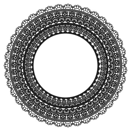 Black Lace Frame on White background. Openwork vintage round decoration. Vector illustration Vettoriali