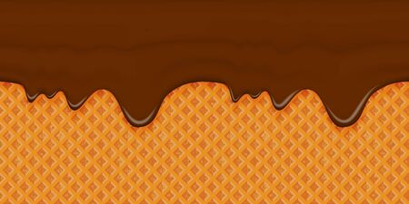 Brown glaze flows down on a waffle background. Horizontal seamless appetizing element with smudges. Template for frosting cone of ice cream. Vector illustration