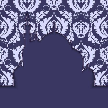 Silhouette d'une mosquée avec ornement. Contexte islamique ou conception de bannière et de carte avec un espace pour le texte. Illustration vectorielle.