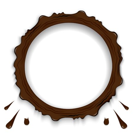 Set of chocolate ring splashes isolated on transparent background. Coffee, cocoa fall with drops and blots. Vector illustration Фото со стока - 131822876