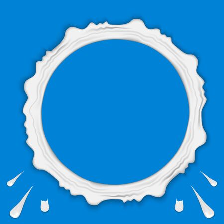Set of milk ring splashes isolated on blue background. Cream, yogurt fall with drops and blots. Vector illustration