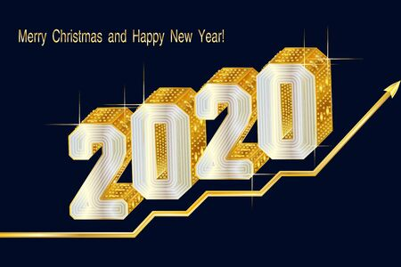 2020 Gold figures 3d font type, encrusted jewels. Business concept steps of success. Background with inscription Happy New Year and Merry Christmas. Holiday background, banner. Vector Illustration