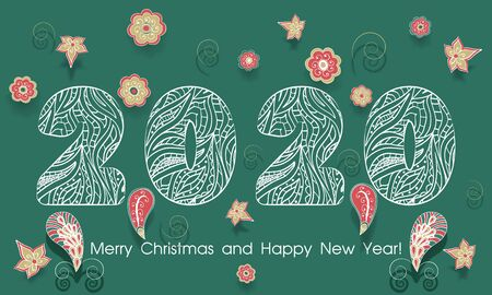 Ornamental numbers 2020 new year with flowers. White lace Pattern of numbers elements in on green background. Christmas and new year greetings. Vector illustration