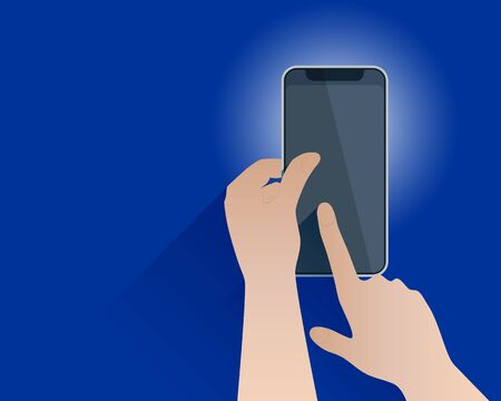 Abstract mobile phone in the two hands. Index finger on the phone screen. Advertising background. Vector illustration. Ilustração