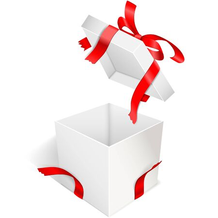 Open gift box with bow and torn red satin ribbons. White case Isolated on a transparent background. Vector illustration.