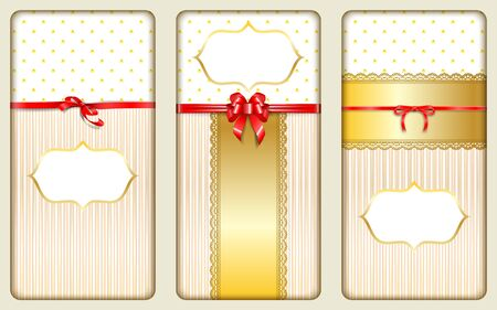 Chocolate packaging design. Set of elements with golden lace red ribbons and bows. Luxury ornate vertical templates for the product or vouchers. Vector illustration