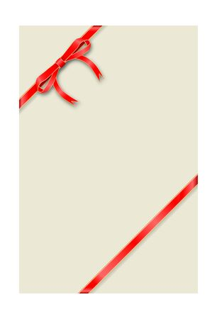Greeting card Vertical template tied with a thin red ribbon with a bow. Vector illustration.