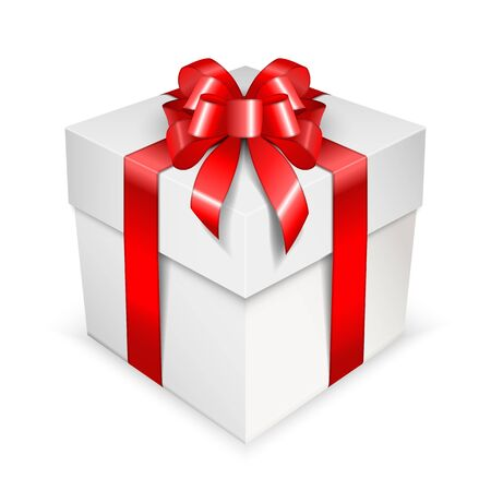 Clean white gift box with a lush bow. Square container with satin bright red ribbons isolated on white background. Vector illustration.