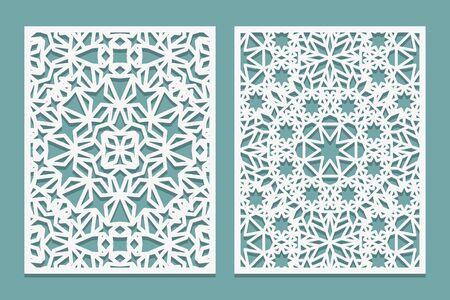 Conjunto de corte por láser estilo islámico. Panel enrejado grabado en madera. Diseño oriental de madera contrachapada cortada con láser. Patrón para impresión, grabado, corte de papel. Adorno de celosía de plantilla. Ilustración vectorial.