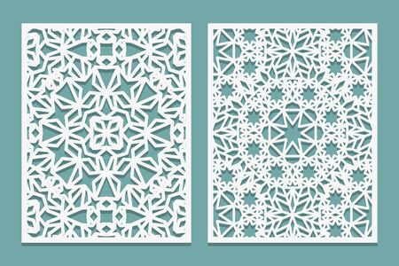 Laserschneidset im islamischen Stil. Holzschnitt-Spalierplatte. Sperrholz lasergeschnittenes östliches Design. Muster zum Drucken, Gravieren, Papierschneiden. Schablone Gitterornament. Vektor-Illustration.