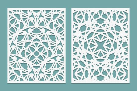 Set decorative panel laser cutting. Wooden or paper screen for lazer. Islamic style geometric abstract pattern. Vector illustration