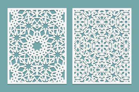 Laser cutting set Arabic motif. Woodcut trellis panel. Plywood laser cut eastern design. Pattern for printing, engraving, paper cutting. Stencil lattice ornament. Vector illustration.