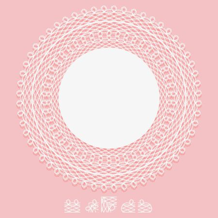 Openwork white napkin and elements of pattern brush. Lace frame round element on pink background. Vector illustration