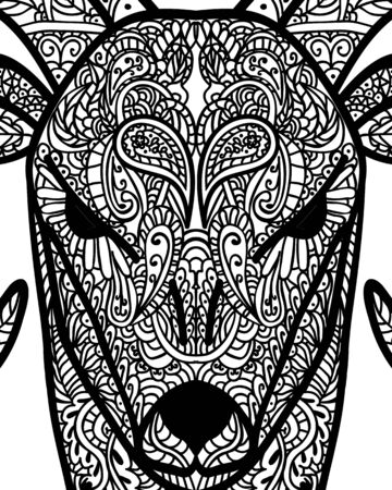 Patterned head of goat. Tattoo design. Coloring page. It may be used for design of a t-shirt, bag, postcard, a poster and so on. Vector illustration.