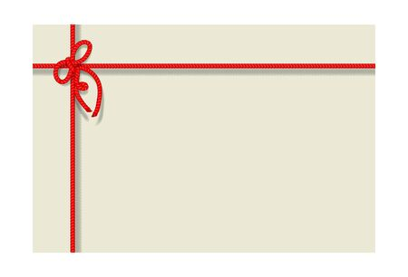 Card with bakers twine bow and Rope. Vector illustration.