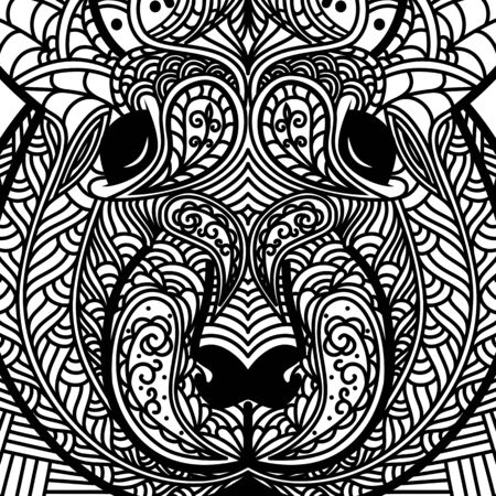 Patterned head of rat. Symbol of 2020. Ornate Chinese New Years sign. Tattoo design. Coloring page. It may be used for design of a t-shirt, bag, postcard, a poster and so on. Vector illustration.