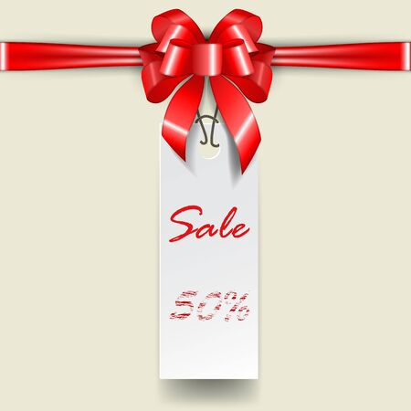 Rectangular Price tag template with tied red bow and ribbon. Banner for special offer. Sale discount elements. Shopping discount promotion. Vector illustration