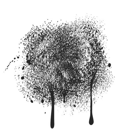 Black ink splatters and drips. Abstract black dust of round shape isolated on white background. Spraying of fine particles. Vector illustration.
