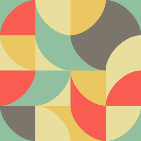 Geometric multicolored pattern of simple shapes. Minimalistic abstract background. Retro print for textiles and plastic. Backdrop for web page, banner and presentation. Vector illustration