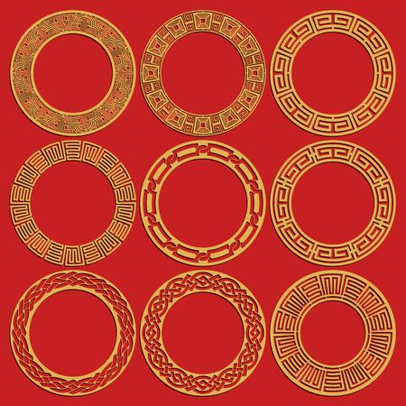 Round chinese frames set isolated on red background. Geometric circular oriental ornaments. Vector illustration