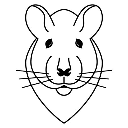 Simple drawing doodle of a rats head isolated on white. Vector illustration