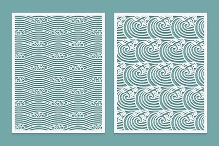 Set of Laser cut template pattern Rivers waves Asian style scenery Metal cutting or wood carving, panel design, stencil for fretwork, paper art, card background or interior decor Vector illustration. Set template for cutting Patterns marine waves Oriental style scenery Metal cutting or wood carving, panel design stencil for fretwork paper art card background or interior decor Vector illustration.