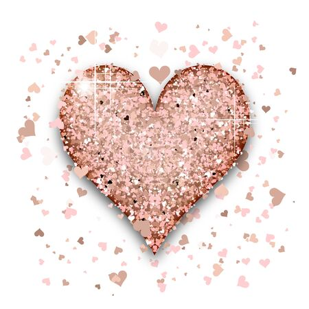 Pink Gold heart of glitter light effect. Confetti particles isolated on white background. Vector illustration.