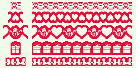 Set of Valentines borders. Seamless ribbons pattern brushes design. Template for cutting out paper or wood. Stencil Repeat flat style. Vector illustration Vektoros illusztráció