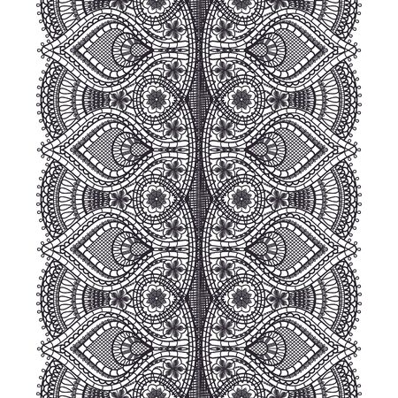 Abstract black lace texture pattern on white background for textile. Vertical seamless ribbon. Crocheted thin fabric made of yarn or thread. Dark lacy cloth. Vector illustration