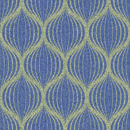 Jeans background with golden Grid ornament. Denim seamless pattern. Blue ornamental fabric. Vector illustration.