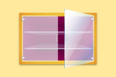 Empty golden textured cupboard or safe with ajar glass door isolated on light background. Vector illustration