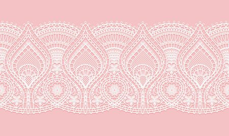 Abstract white lace texture pattern on pink background for textile. Horizontal seamless ribbon. Crocheted thin fabric made of yarn or thread. Ivory-colored lacy cloth. Vector illustration