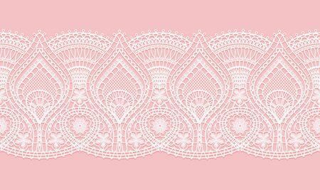Motif abstrait de texture de dentelle blanche sur fond rose pour le textile. Ruban sans soudure horizontale. Tissu fin au crochet fait de fil ou de fil. Tissu de dentelle de couleur ivoire. Illustration vectorielle