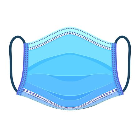 Medical respiratory mask. Front side of the full face is isolated on a white background. Breathing Safety masque. Hospital or pollution protect face masking. Vector illustration.