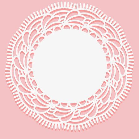 Openwork lace doily. Template for laser cutting. Circular Monochrome ornament. Vector illustration.