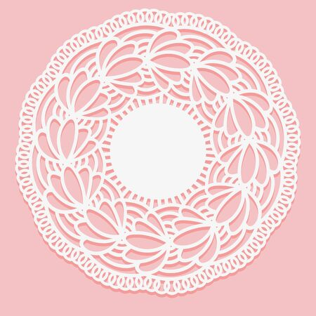 Openwork lace napkin. Template for laser cutting. Round Monochrome ornamental simple drawing. Vector illustration.