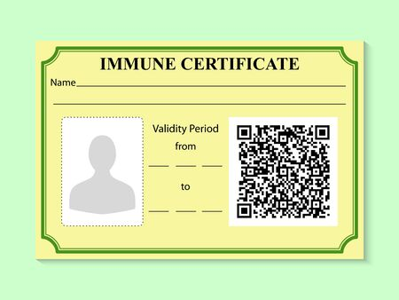 Immune certificate in form of card with a sample QR code. Negative result for coronavirus. Working ID for person with absence of disease virus SARS. Risk free badge for COVID 19. Vector illustration. 向量圖像